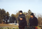 Lorie and Marc Michaud and Brian Emord at the Christmas tree farm