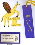 Reading contest bookmark - winged unicorn - 1st place in 4th grade