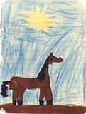 Horse in Magic Markers, against a crayon sky